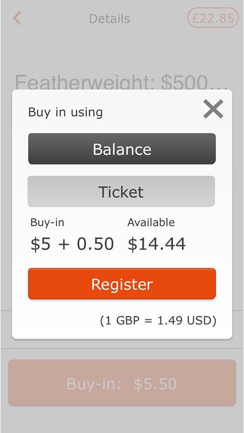 Использовать билет Partypoker в качестве бай-ина
