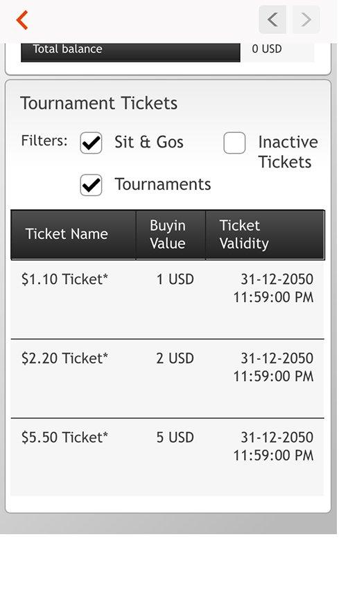 Список билетов Partypoker