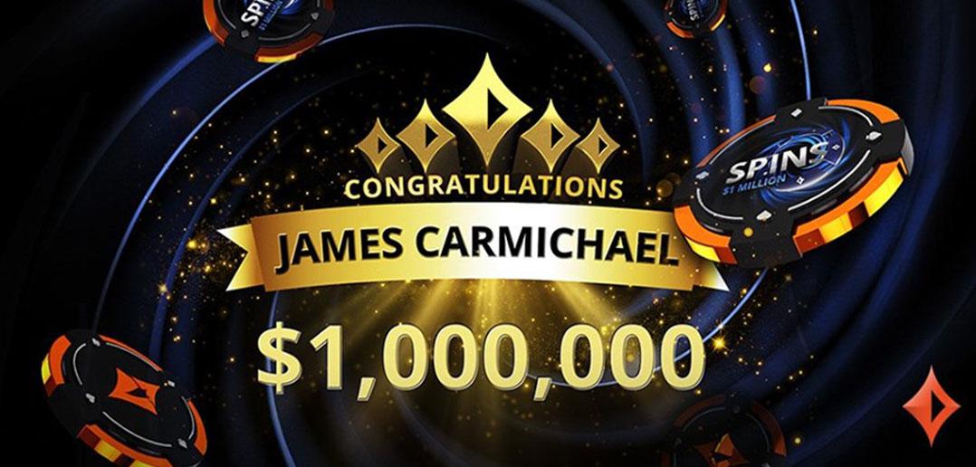 Джеймс Кармайкл выиграл $1 млн в Spins