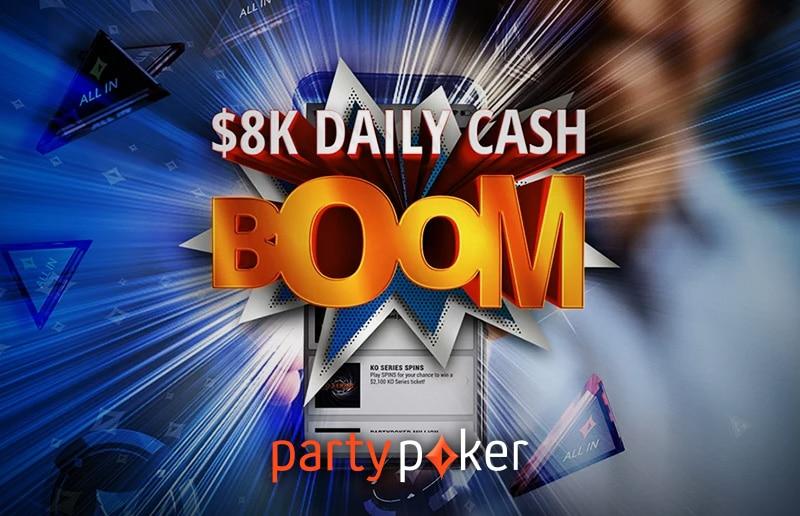 В Daily Cash Boom на partypoker ежедневно разыгрывается по 8 тысяч долларов