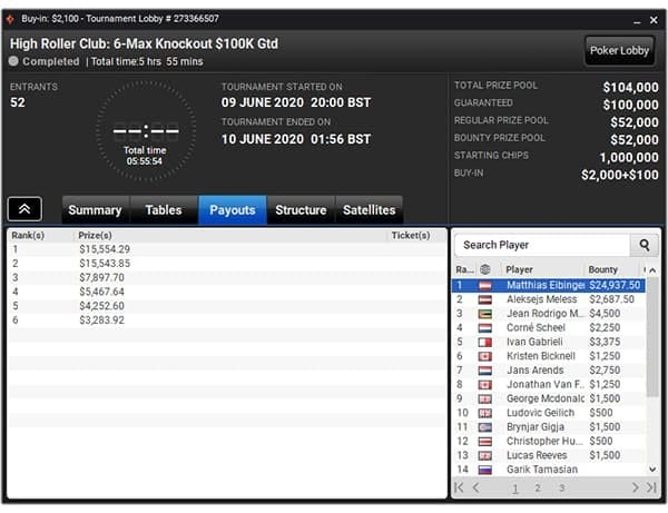6-Max Knockout $100K Gtd